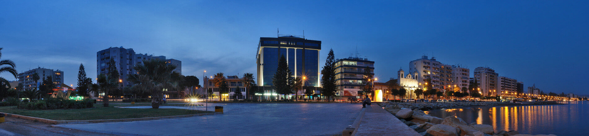 Cyprus Limassol seaside with business buildings
